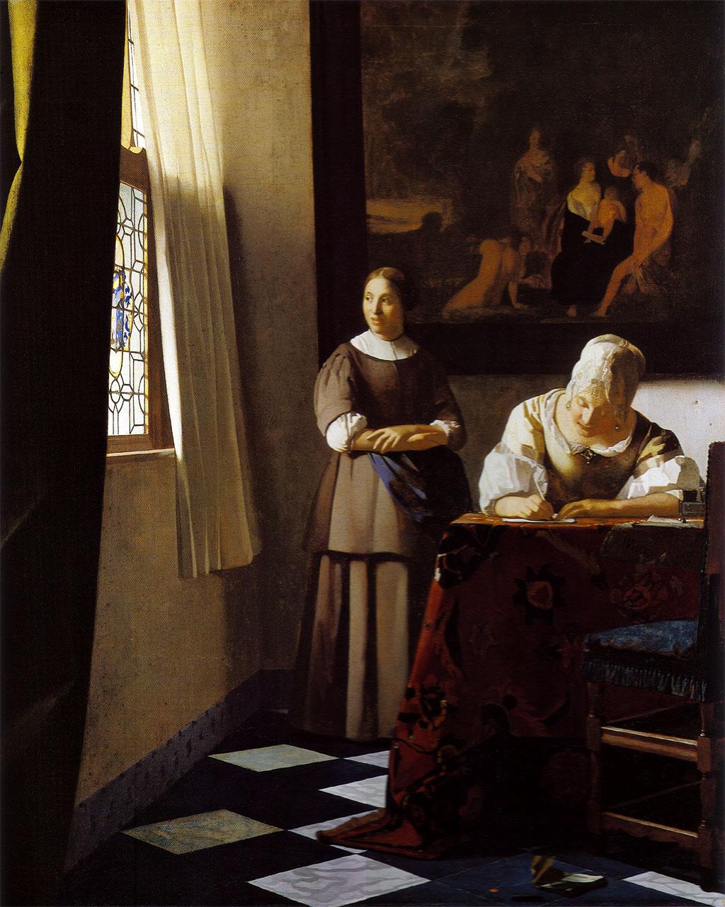 Vermeer, Jeune femme écrivant une lettre et sa servante, 1667, National Gallery, Londres